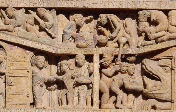 Détail du tympan de l'abbatiale Sainte-Foy de Conques : l'enfer.